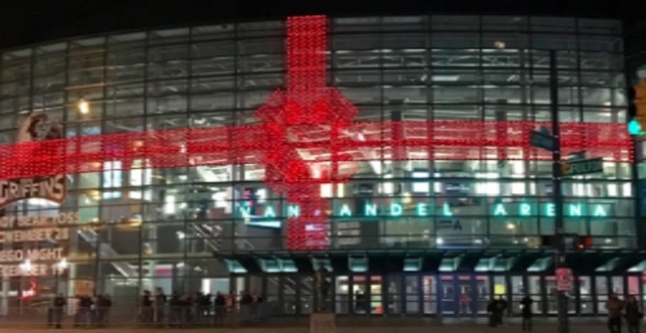 Van Andel Bow holiday lights downtown