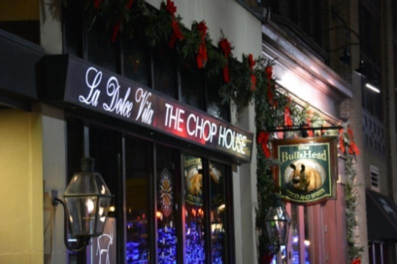 Chop House holiday lights Window Wonderland
