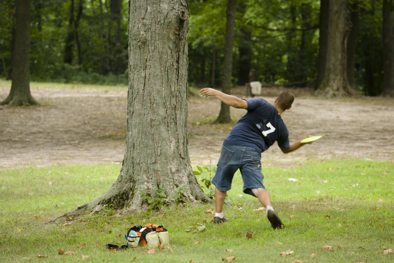 Riverside Park offers two nine-hole disc-golf courses