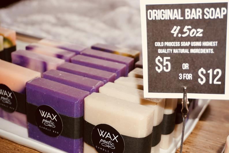 bar soap for sale at Wax Poetic in Grand Rapids
