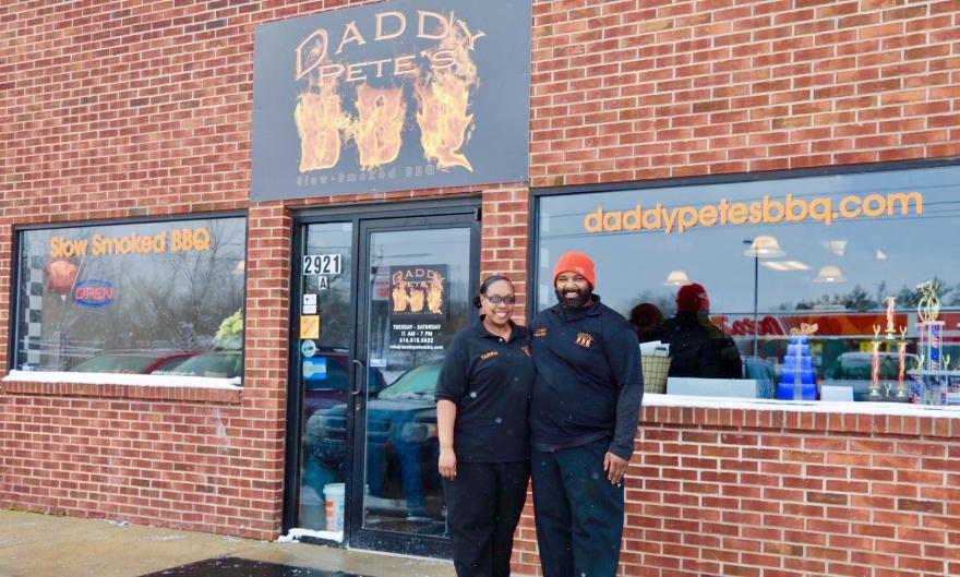 Owner-operators of award-winnning Daddy Pete's BBQ, Cory and Tarra Davis.