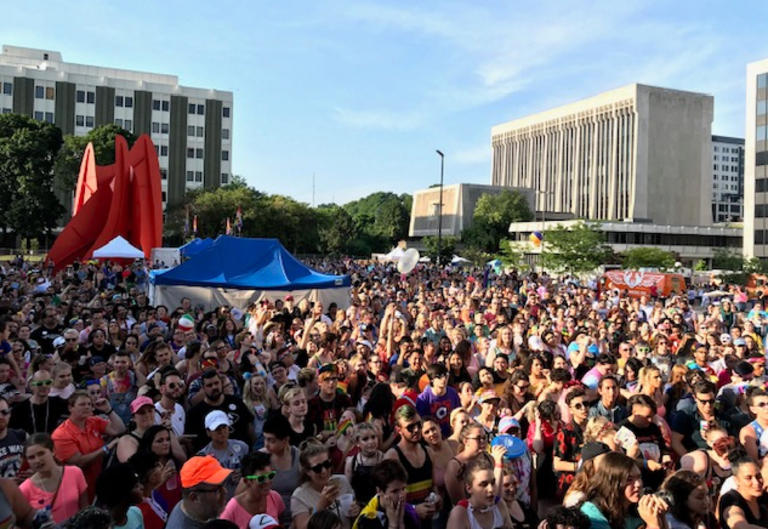 Crowd celebrating at Pride Festival 2019 in Grand Rapids