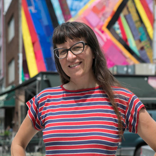 Amanda Browder, a Brooklyn-based artist, produces large-scale fabric installations for building exteriors and other public sites.