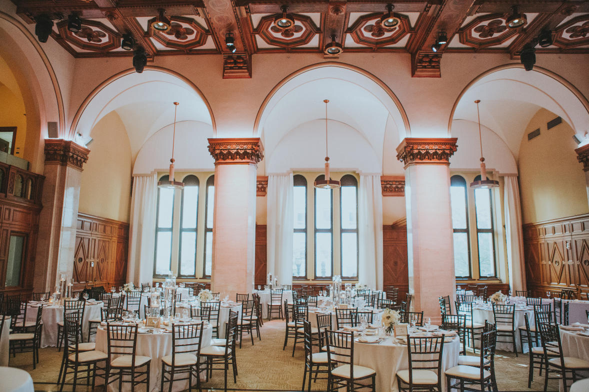 The Ballroom at CityFlatsHotel provides grand views and high ceilings for a timeless wedding venue.