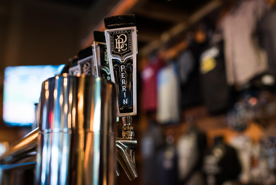 Perrin Brewing Co. has over 15 craft beers on tap and a full menu to suit your taste buds.