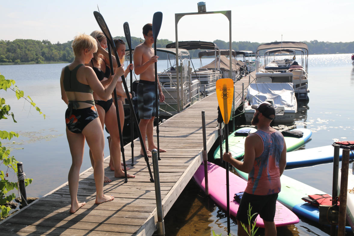 Paddle boarding is suitable for people of all ages.