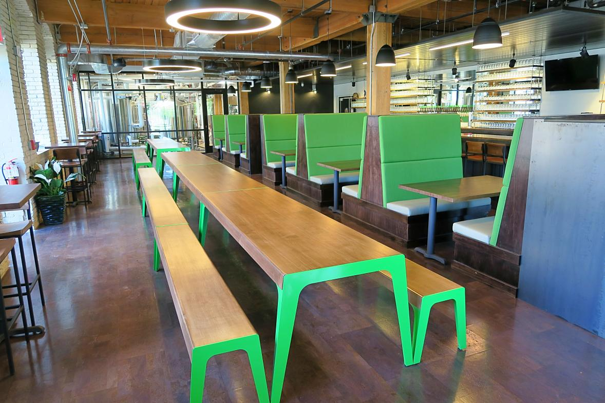 Make a new friend or two at City Built's large community tables.