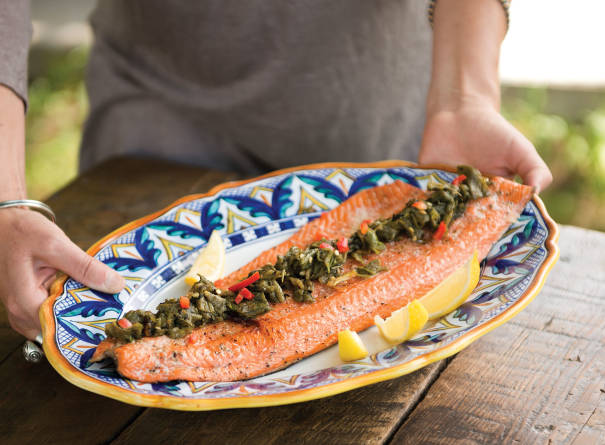 Recipe Grilled Copper River Salmon With Green Chiles