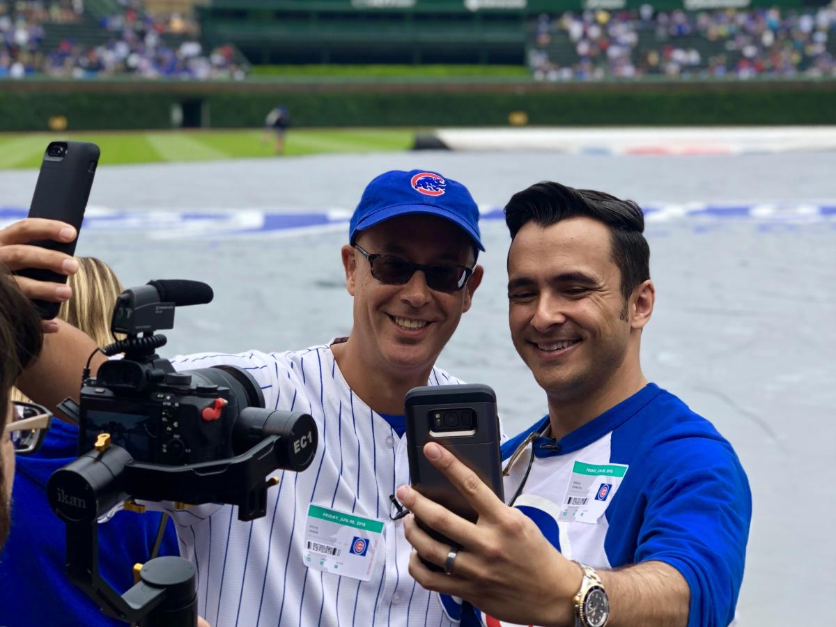Influencers take selfies at Wrigley Field