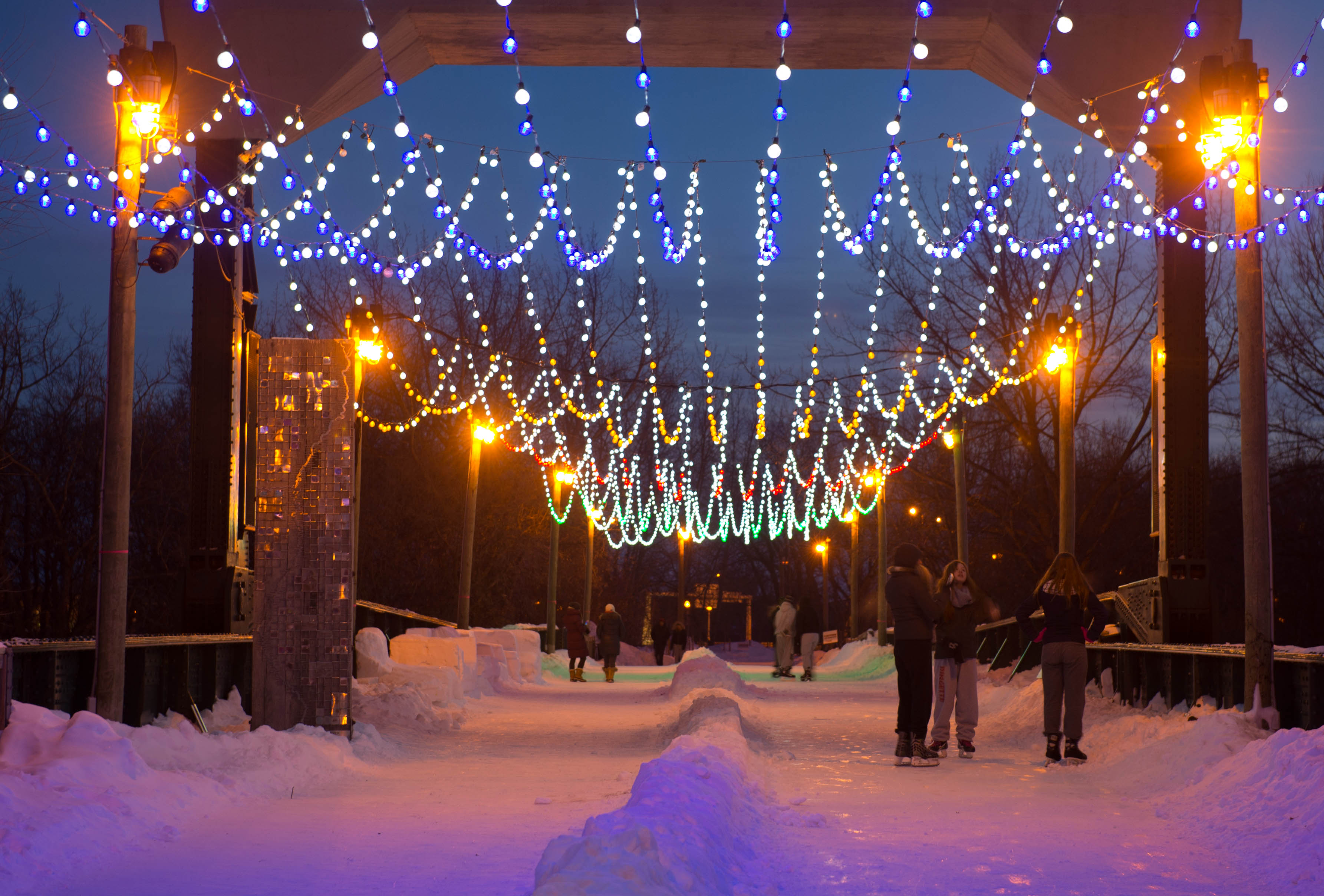 Winter lights over the walking bridge at The Forks