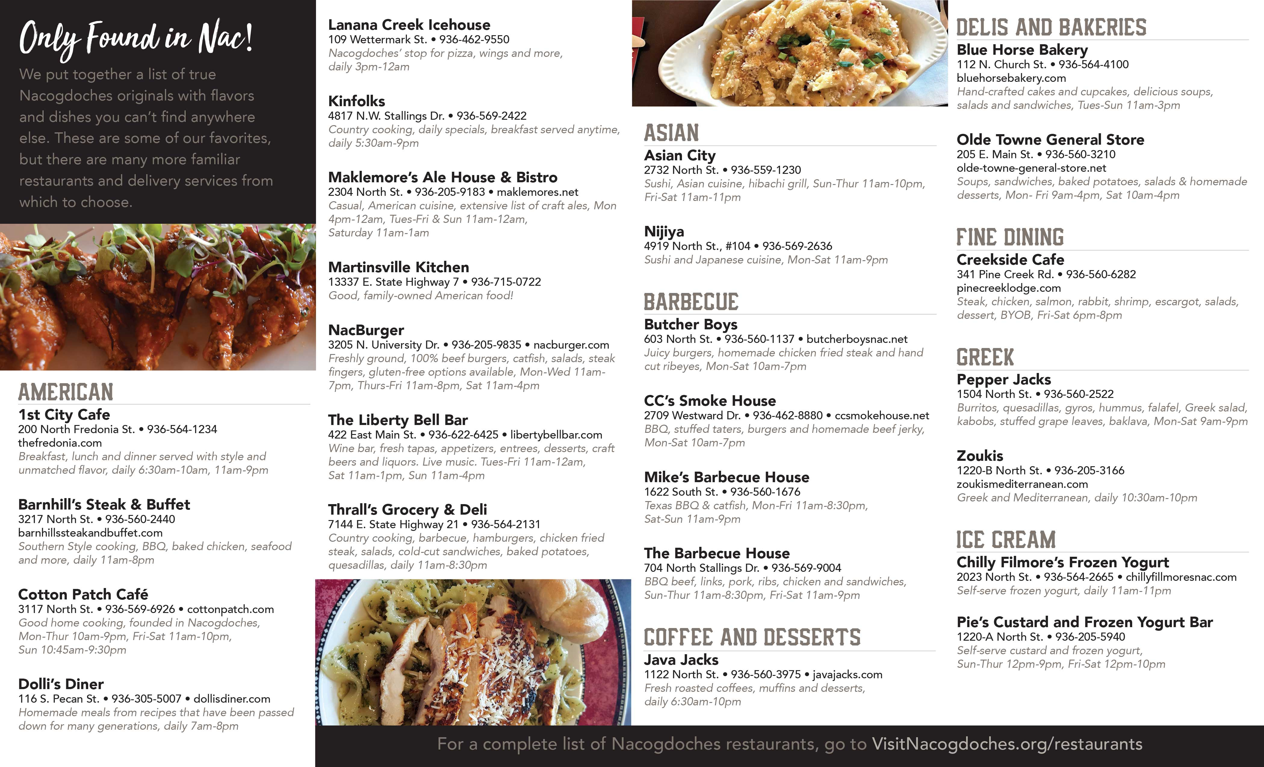 Dining Guide Back