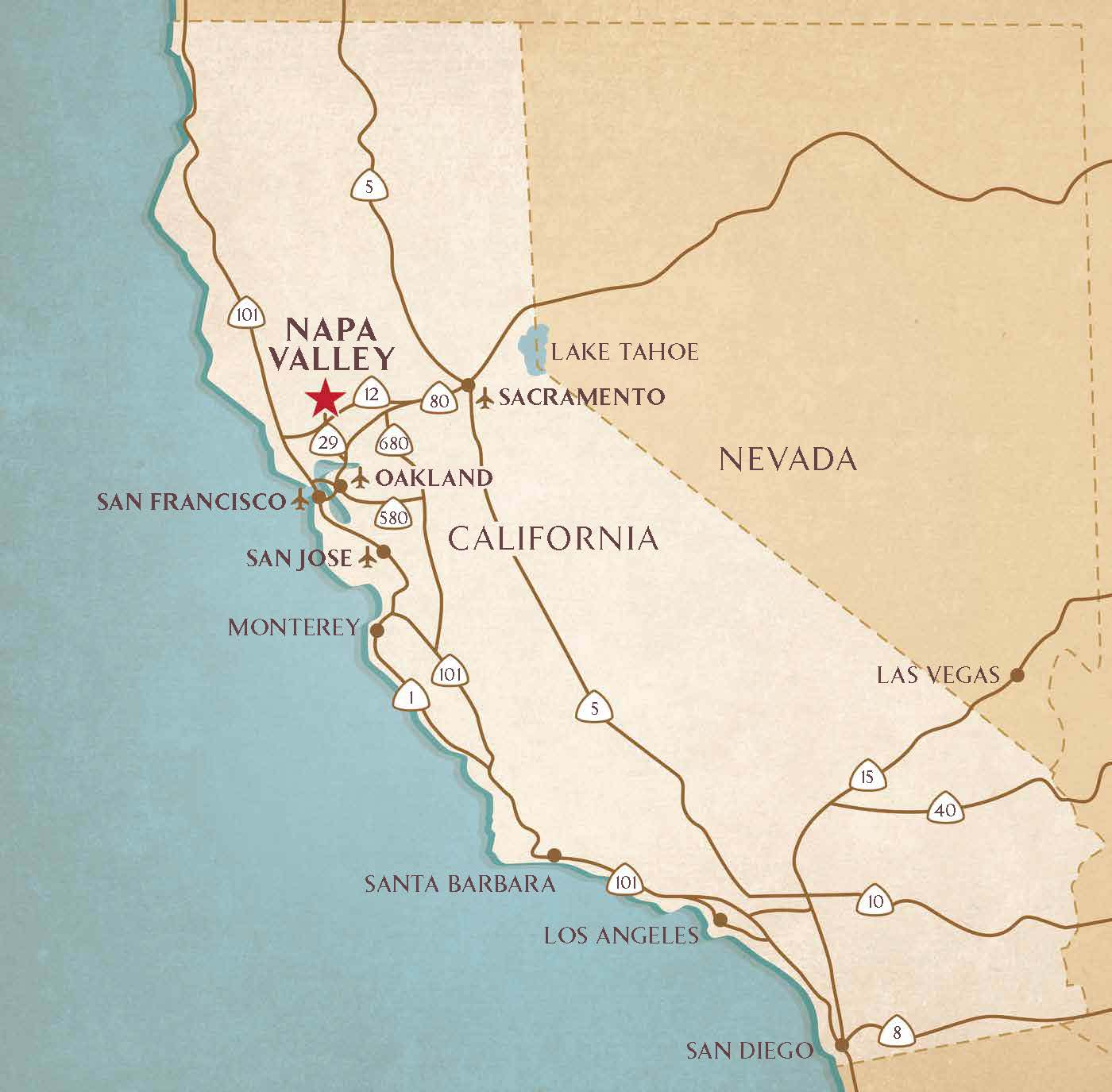Map Napa Valley Getting to the Napa Valley | Airports, Transportation Services  Map Napa Valley