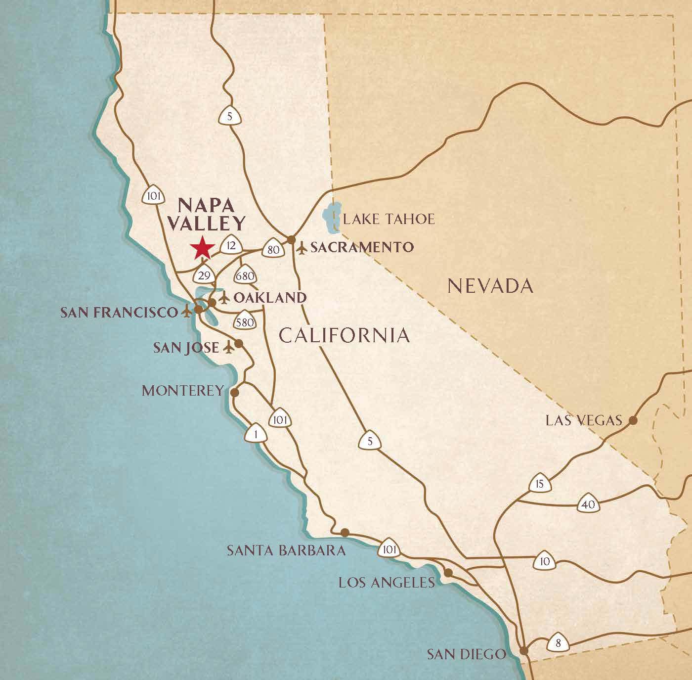 Napa Ca Map Getting to the Napa Valley | Airports, Transportation Services  Napa Ca Map