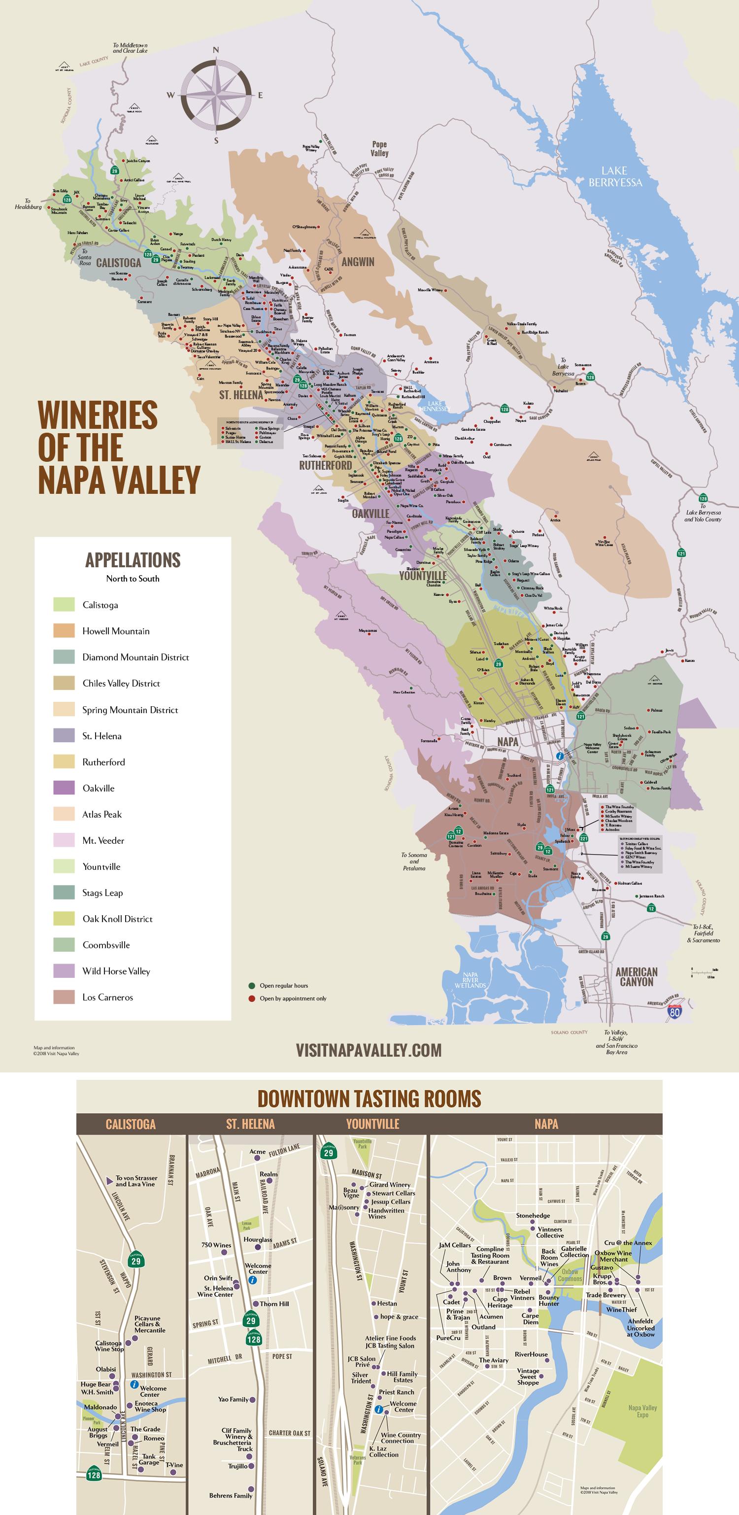 Napa Valley Winery & Tasting Room Map