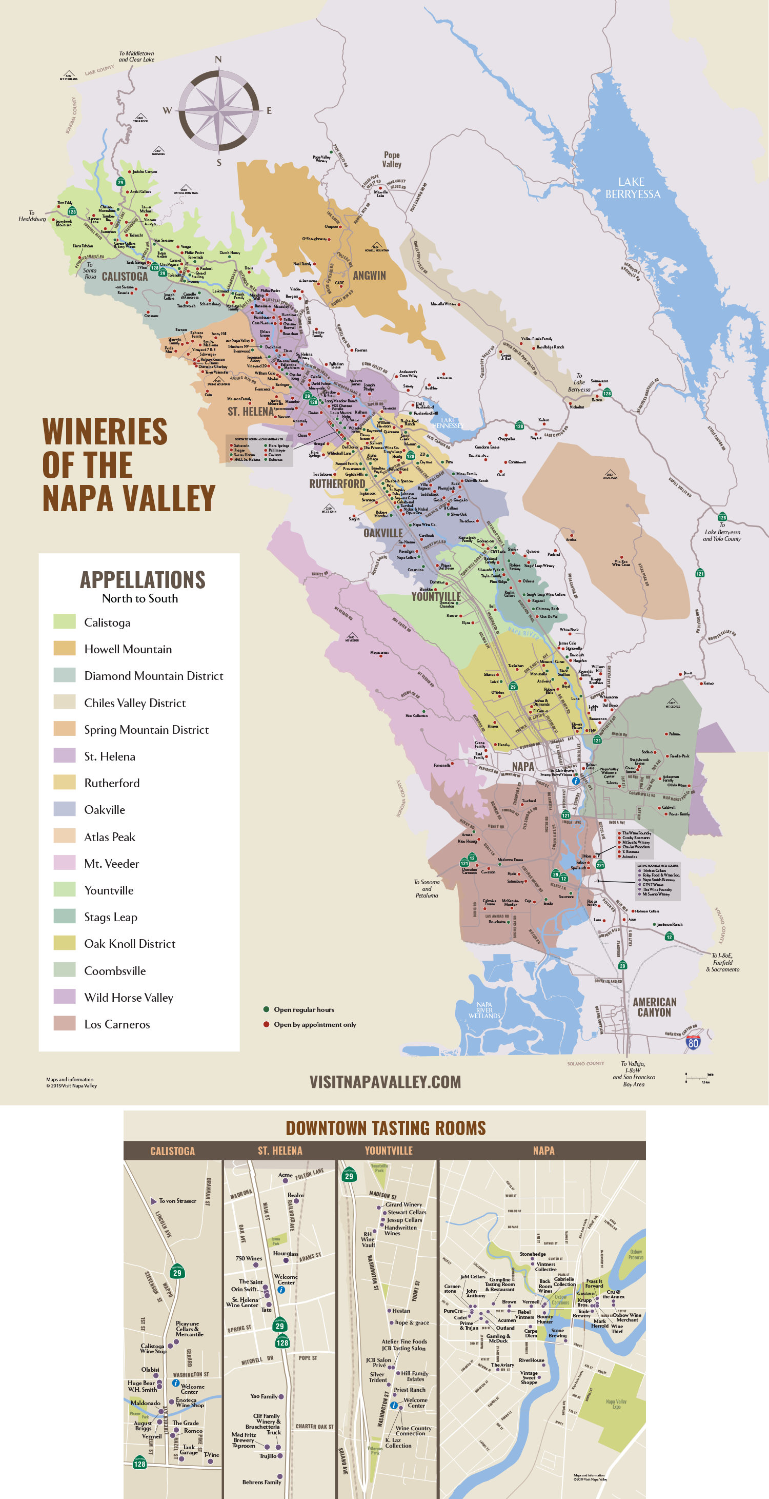 Napa Valley Winery & Tasting Room Map