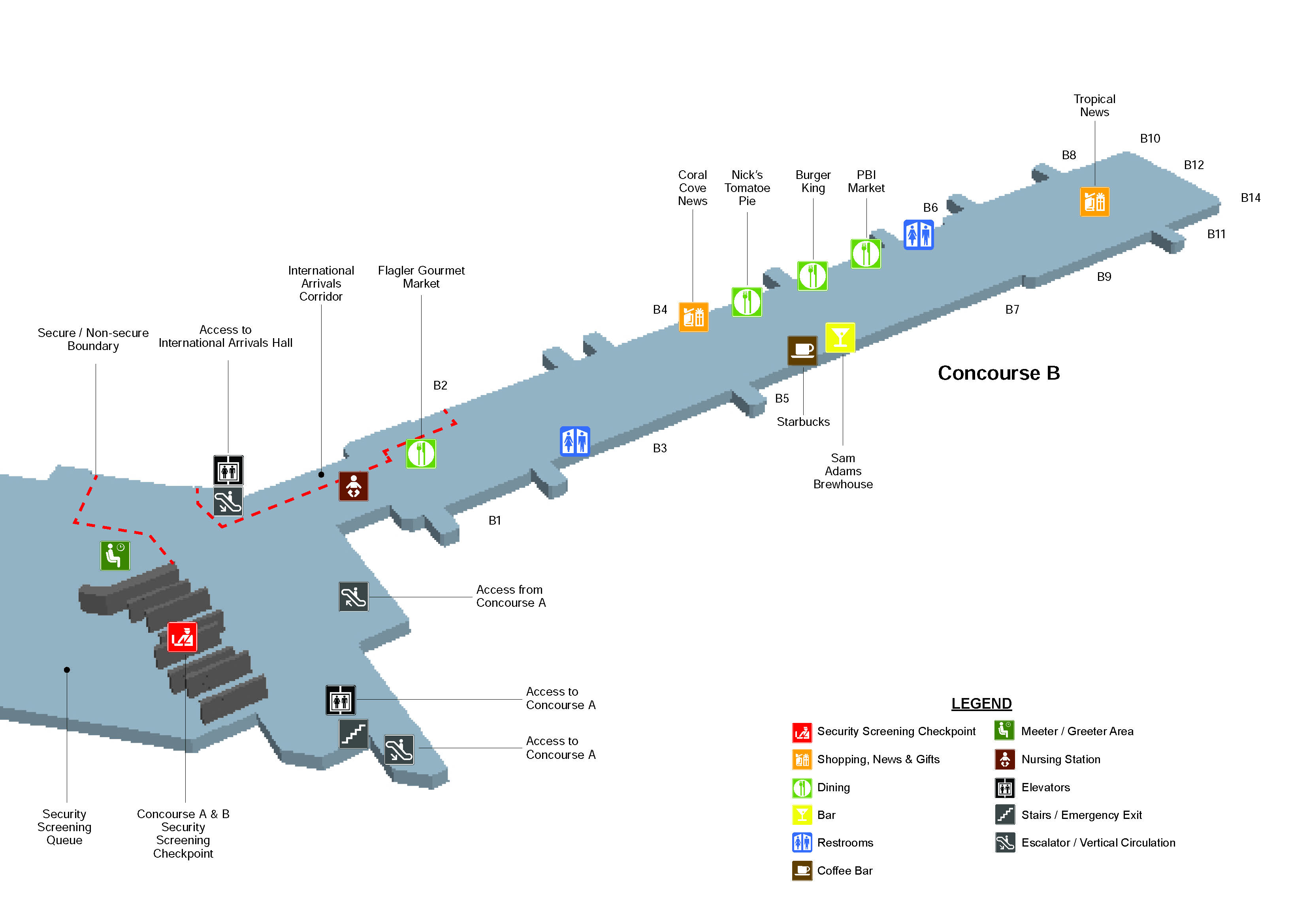 Concourse C Map Level 1 Pbi Terminal